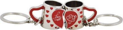CTW Full Metal Couple Mug Shapped Red & Silver Key Chain