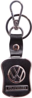 Homeproducts4u Volkswagen Leather Black Metal Locking Keychain Key Chain