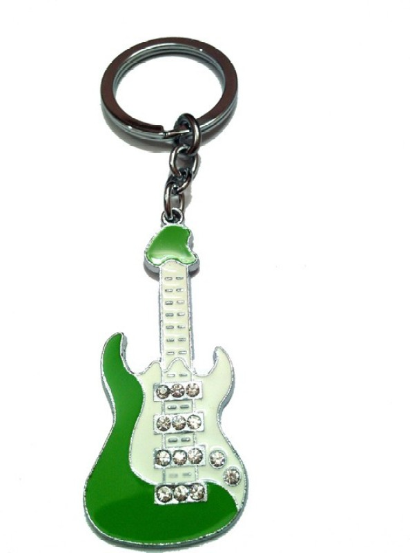 City Choice Studded Green Guitar Key Chain(Green, White)