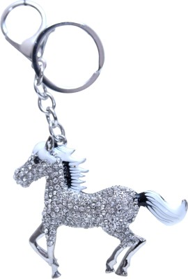 Oyedeal White and Black Studded Horse Metal Locking Key Chain