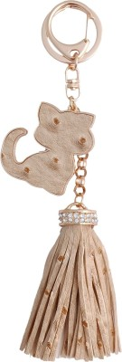 Super Drool Beige Kitty and Fringes Locking Key Chain