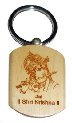 Aditya Traders Jai Shri Krishna Embross On Pine Wood Metal Ring Key Chain