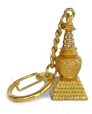 Kriti Creations Feng Shui Bejewelled Earth Stupa Locking Key Chain