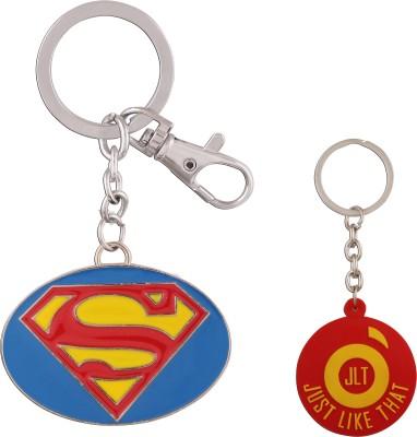 JLT Superman Metal Yellow with Blue Background Premium Locking Key Chain