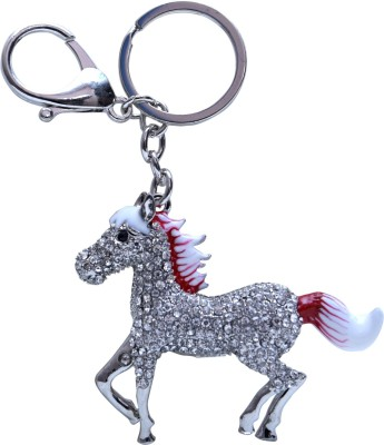 Oyedeal Red and White Studded Horse Metal Locking Key Chain