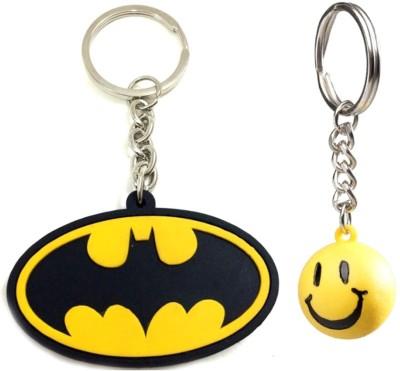Confident Non Metal Multi Color Batman And Smily Key Chain(Multicolor)
