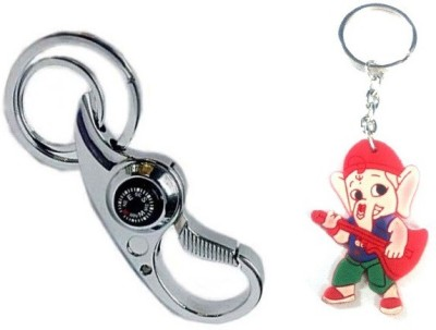 Ezone Metallic Double Ring Curved & Rubber Ganesh Key Chain Key Chain