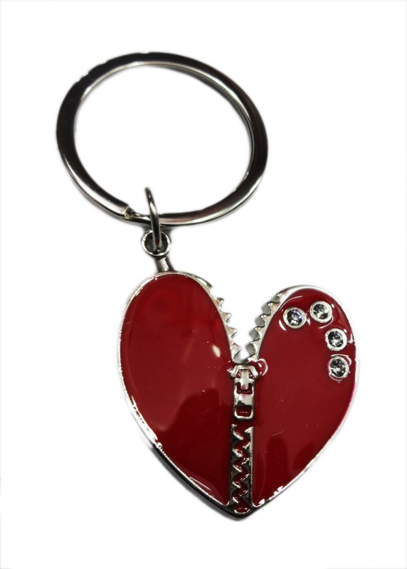 Aditya Traders metal heart with stone Key Chain(Red)