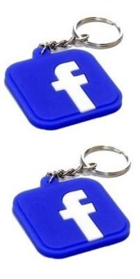 Divinext Designer Facebook Logo Soft Rubber Set of 2 Key Chain