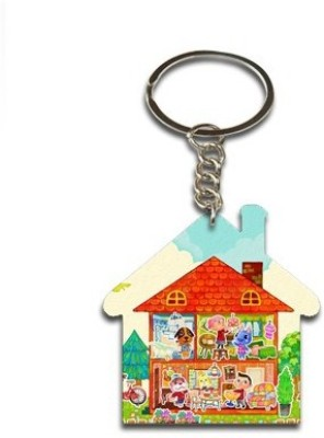 Onlineworld Home Shape Wood -03 Key Chain