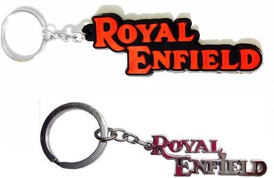 Abzr Combo Of Royal Enfield Metallic And Rubber Key Chain Key Chain