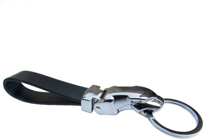 Indiashopers Jaguar Leather Metallic Key Chain