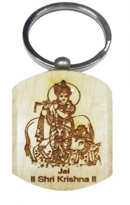 Aditya Traders Shri Krishna Embross On Pine Wood With Metal Ring Key Chain