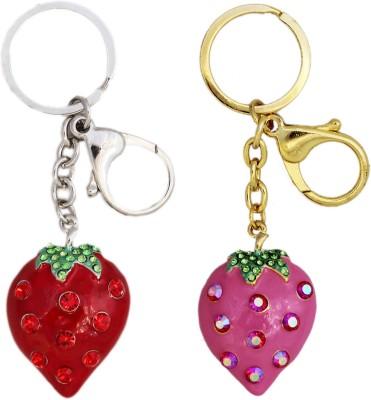 Tootpado Strawberry (Pack Of 2) - 1o172 - Stylish Stone Metal Crystal Keyring Rhinestones Purse Pendant Handbag Charm Key Chain(Multicolor)