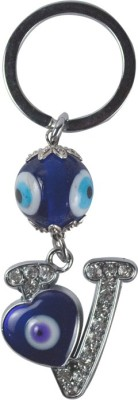 Forty Creek Letter V With Heart Key Chain