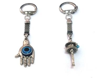 VASTUGHAR PRAYER WHEEL AND EVIL EYE HAMSA HAND KEY RING Key Chain