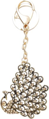 Super Drool Gold Crystal Studded Happy Peacock Locking Key Chain