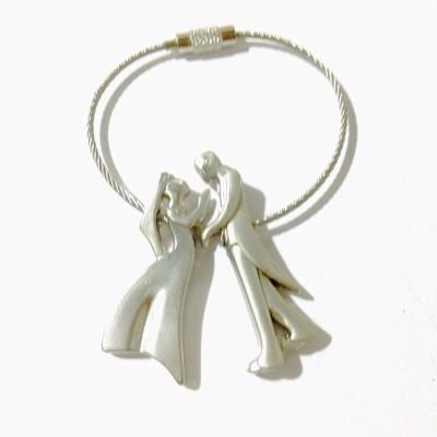 Tech Fashion Dancing Couple Metal Wired Locking Key Chain