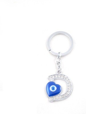 Ezone Letter D With Heart Key Chain(Silver) Key Chain