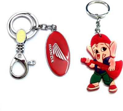 Ezone Imported Metal Hero Locking & Rubber Ganesh Key Chain Locking Key Chain