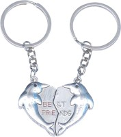 CTW Bestfriend Metal Heart shape Pack of 2 keychain Key Chain(Silver)