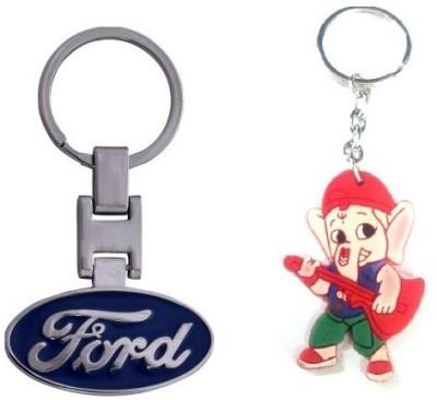 Ezone Imported Ford Metal & Rubber Ganesh Key Chain Locking Key Chain