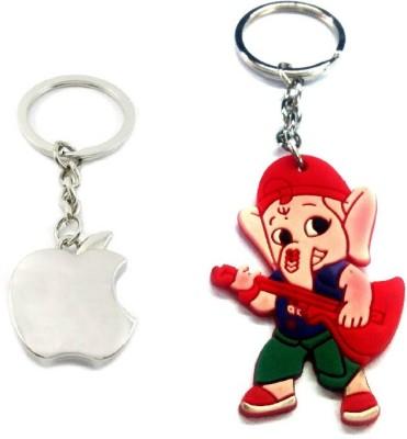 Ezone Apple Silver & Rubber Ganesh Key Chain Key Chain