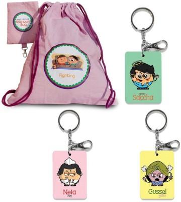Indiangiftemporium Bachpan Ki Yadein Bag n 3 Pc Funky Keychains Combo 440 Locking Carabiner