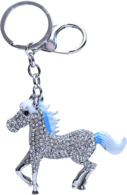 Oyedeal Blue and White Studded Horse Metal Locking Key Chain
