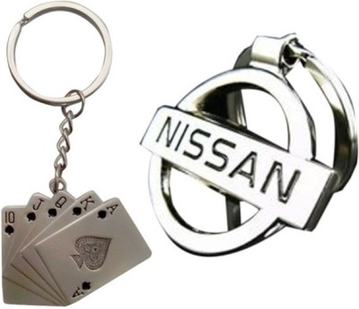 Homeproducts4u Nissan & Playing Card Full Metal Key Chain(Silver) (Pack of 2)-31 Key Chain