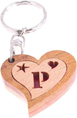 JM Alphabet P Heart Key Chain