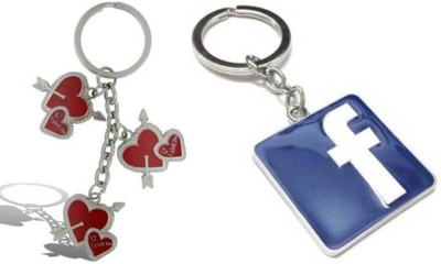 Rashi Traders Arrow 3 Heart + Facebook Key Chain