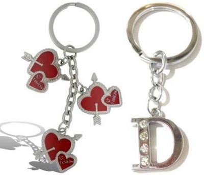 Rashi Traders Arrow 3 Heart + Alphabet D Key Chain