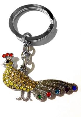 Tech Fashion Peacock Yellow Colour Diamonds Locking Key Chain
