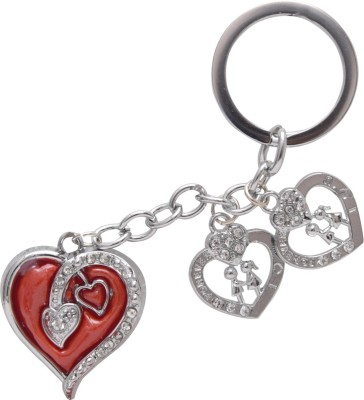 Oyedeal I LUV U Forever Studded Heart Key Chain