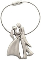 CTW Romantic Couple Metal Wire Ring Key Chain(Silver)