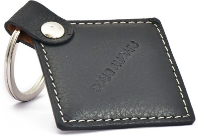 Rivory Bros Black Square Leather Keychain Carabiner