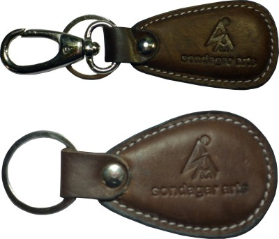 Sondagar Arts Stylish Pure Leather Men's Locking Key Chain
