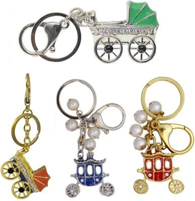 Tootpado Buggy (pack Of 4) - 1o162 - Stylish Stone Metal Crystal Keyring Rhinestones Purse Pendant Handbag Charm Key Chain(Multicolor)