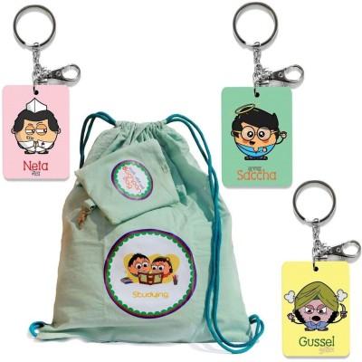 Indiangiftemporium Bachpan Ki Yadein Bag n 3 Pc Funky Keychains Combo 439 Locking Carabiner