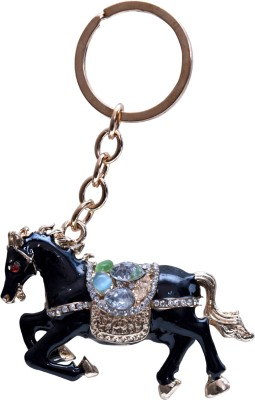 Oyedeal Black Studded Horse Metal Key Chain