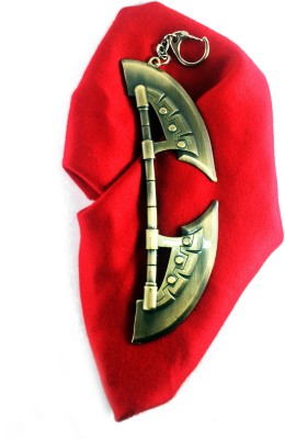 KBnBS Antique Mettalic Axe-Bow Fiction Weapon Keychain Locking Key Chain