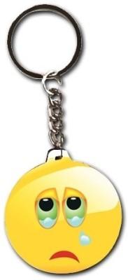 Smileonline Smiley Round Wood09 Hurting Key Chain