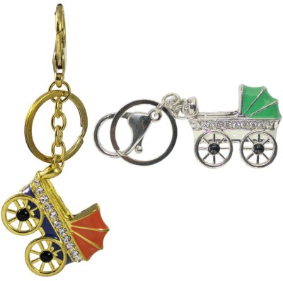 Tootpado Buggy (Pack Of 2) - 1o184 - Stylish Stone Metal Crystal Rhinestones Purse Pendant Handbag Charm Key Chain(Multicolor)