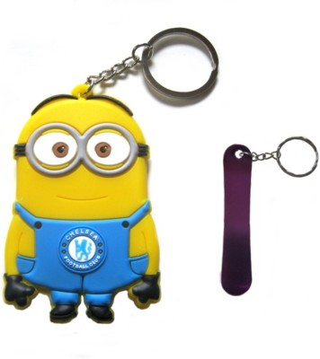 Optimum Deal Cute Cartoon Character despicable Me Minion Football Club (M-21) Double Sided Rubber Key Chain