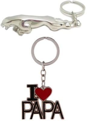 Confident Metalic Jaguar Car Logo And I Love Papa Key Chain
