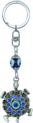 Kriti Creations Metallic Tortoise Turkish Evil Eye Key Chain