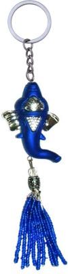 Tech Fashion Keychain Ganesh Ganpati Stunning Indigo Blue Silver मोती के ��मके Keyring TF-379 Locking Key Chain