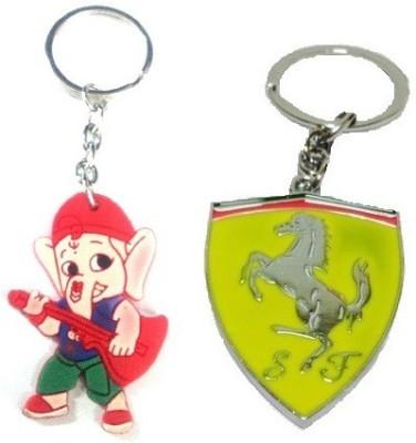 Ezone Yellow Farrari & Rubber Ganesh Key Chain