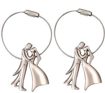 Phoenix Pack of 2 Bride & Groom Metal Wire Locking Locking Key Chain